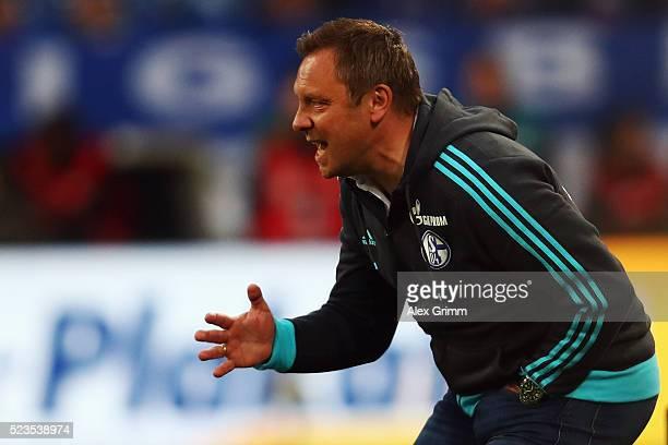 Head coach Andre Breitenreiter of Schalke reacts during the Bundesliga match between FC Schalke 04 and Bayer Leverkusen at VeltinsArena on April 23...