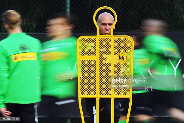Head coach Andre Schubert looks on during a Borussia Moenchengladbach training session on day 3 of the Bundesliga Belek training camps at Maxx Royal...