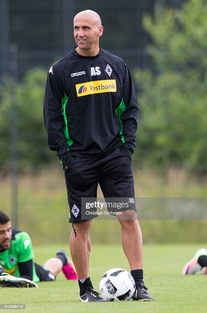 Head Coach Andre Schubert of Borussia Moenchengladbach during a training session at Borussia-Park on June 29, 2016 in Moenchengladbach, Germany.