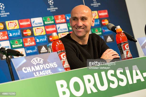 Head Coach Andre Schubert of Borussia Moenchengladbach during a press conference at BorussiaPark on November 24 2015 in Moenchengladbach Germany
