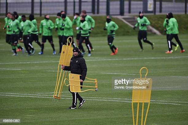 Head coach Andre Schubert of Borussia Moenchengladbach looks on during a training session ahead of their Champions League Group D match against...