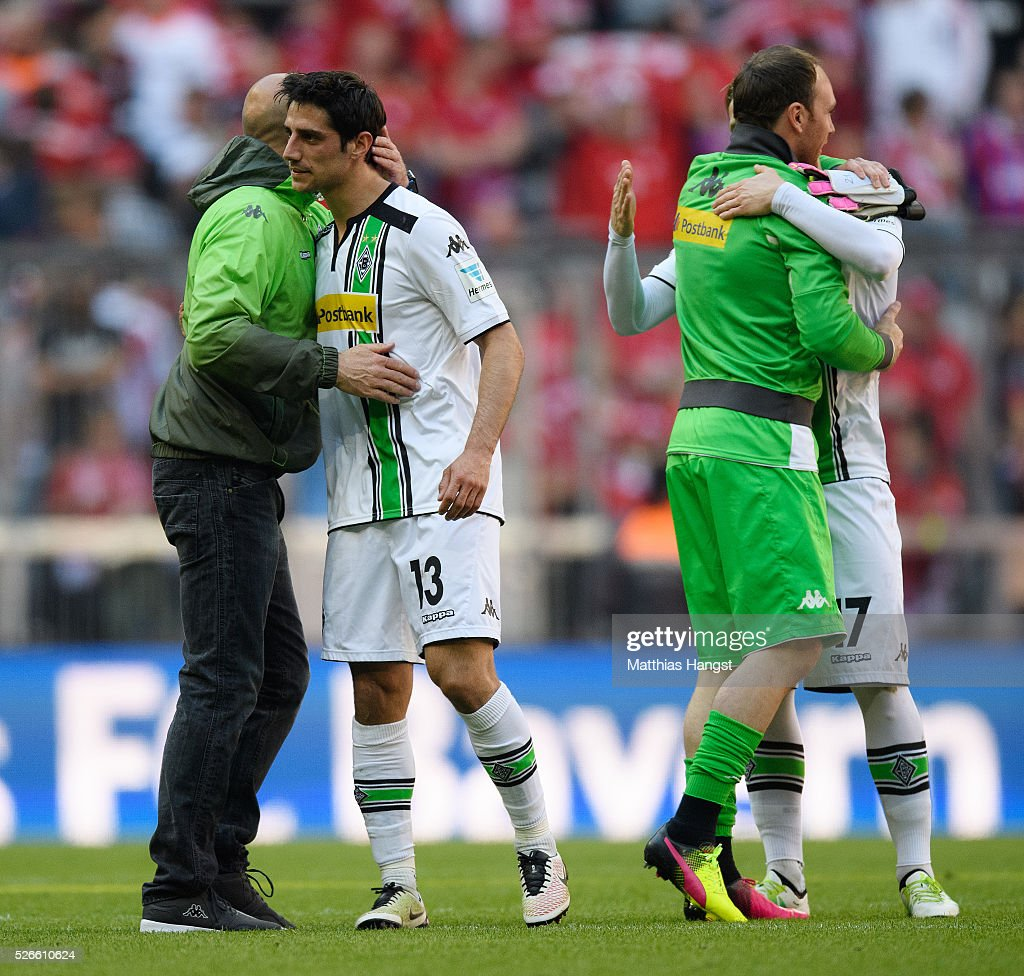 Head coach Andre Schubert of Gladbach and <a gi-track='captionPersonalityLinkClicked' href=/galleries/search?phrase=Lars+Stindl&family=editorial&specificpeople=654295 ng-click='$event.stopPropagation()'>Lars Stindl</a> of Gladbach seen after the Bundesliga match between FC Bayern Muenchen and Borussia Moenchengladbach at Allianz Arena on April 30, 2016 in Munich, Germany.