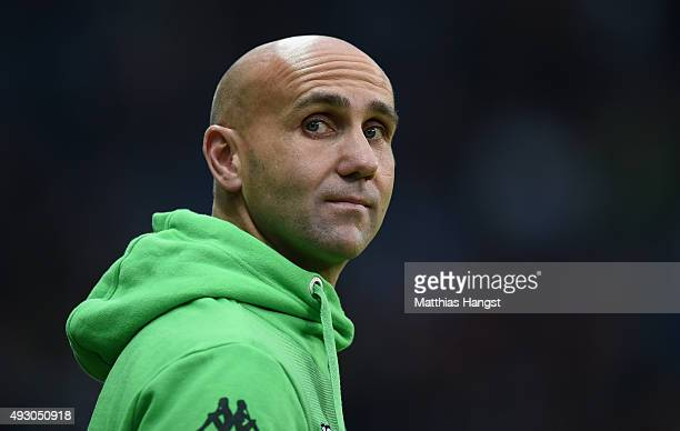 Head coach Andre Schubert of Gladbach looks on prior to the Bundesliga match between Eintracht Frankfurt and Borussia Moenchengladbach at...