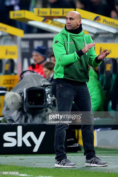 Head coach Andre Schubert of Moenchengladbach applauds his team after the Bundesliga match between Borussia Moenchengladbach and Hannover 96 at...