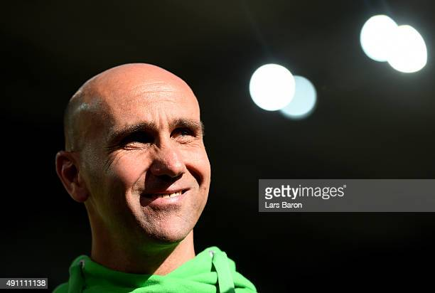 Head coach Andre Schubert of Moenchengladbach looks on prior to the Bundesliga match between Borussia Moenchengladbach and VfL Wolfsburg at...
