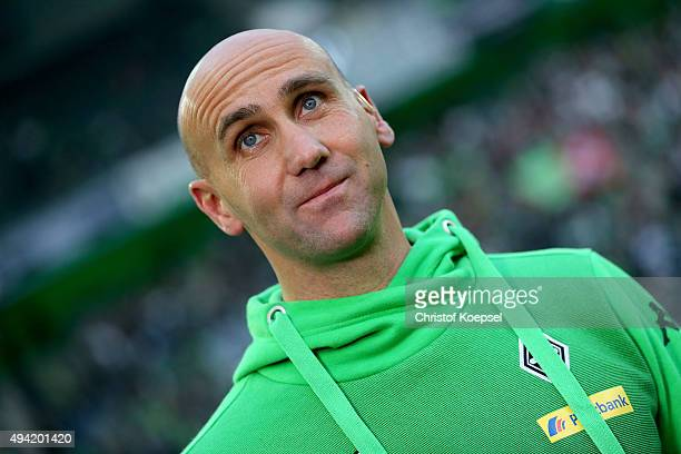 Head coach Andre Schubert of Moenchengladbach looks on prior to the Bundesliga match between Borussia Moenchengladbach and FC Schalke 04 at...