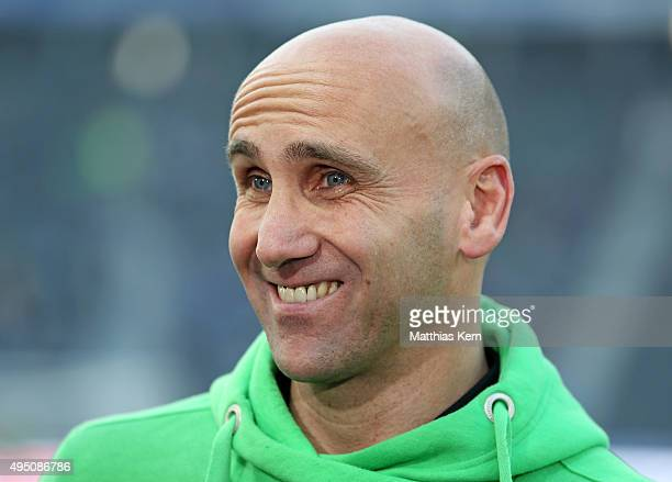 Head coach Andre Schubert of Moenchengladbach looks on prior to the Bundesliga match between Hertha BSC and Borussia Moenchengladbach at...