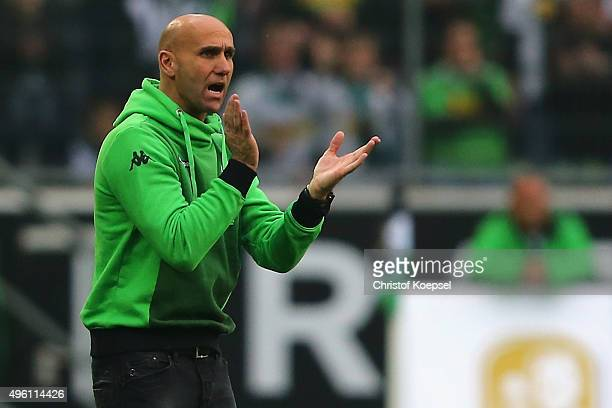 Head coach Andre Schubert of Moenchengladbach shouts during the Bundesliga match between Borussia Moenchengladbach and FC Ingolstadt at BorussiaPark...