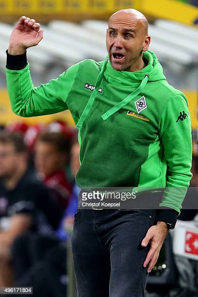 Head coach Andre Schubert of Moenchengladbach shows emotions during the Bundesliga match between Borussia Moenchengladbach and FC Ingolstadt at...