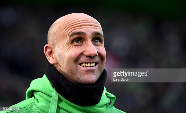 Head coach Andre Schubert of Moenchengladbach smiles prior to the Bundesliga match between Borussia Moenchengladbach and FC Bayern Muenchen at...