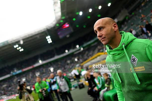 Head coach Andre Schubert of Moenchengladbach0 looks on prior to the Bundesliga match between Borussia Moenchengladbach and FC Ingolstadt at...