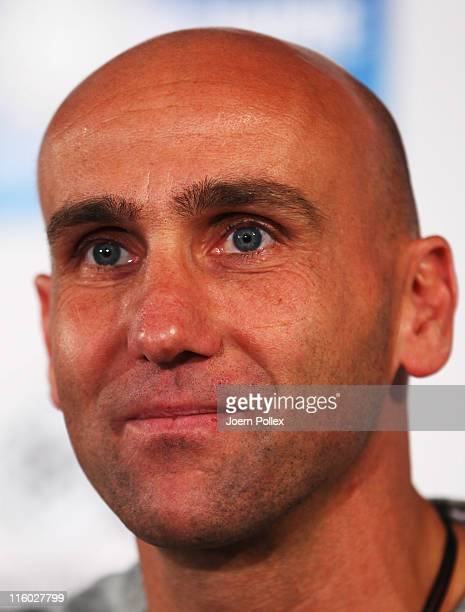 Head coach Andre Schubert of St Pauli speaks to the media during a press conference of FC StPauli at the Millerntor stadium on June 14 2011 in...