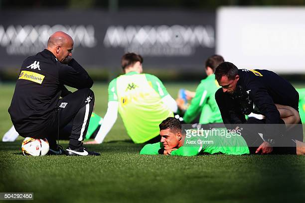 Head coach Andre Schubert talks to Granit Xhaka during a Borussia Moenchengladbach training session on day 5 of the Bundesliga Belek training camps...