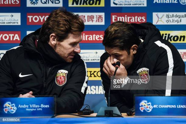 Head coach Andre VillasBoas and forward Hulk of Shanghai SIPG attend a press conference after the AFC Asian Champions League group match between FC...