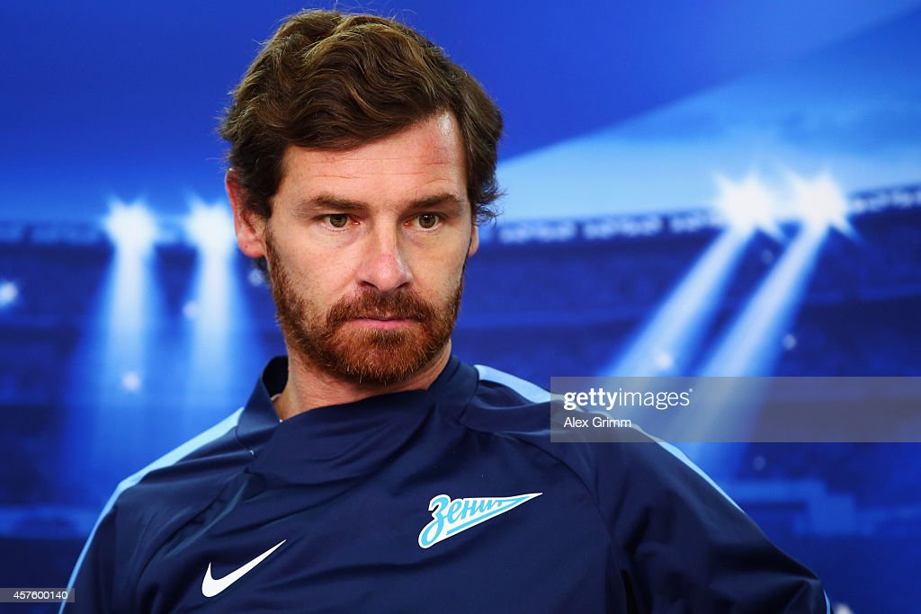Head coach Andre VillasBoas attends a FC Zenit press conference ahead of their UEFA Champions League Group C match against Bayer Leverkusen at...