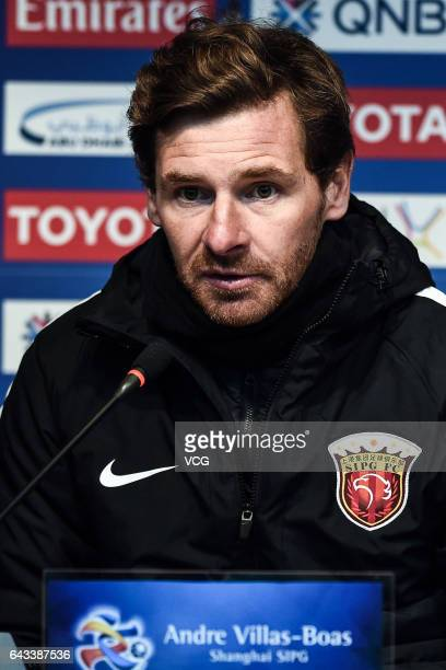 Head coach Andre VillasBoas of Shanghai SIPG attends a press conference after the AFC Asian Champions League group match between FC Seoul and...