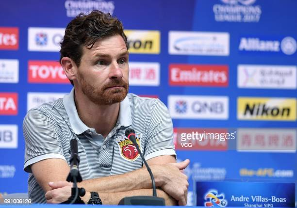Head coach Andre VillasBoas of Shanghai SIPG attends a press conference after 2017 AFC Champions League Round of 16 between Jiangsu Suning FC and...