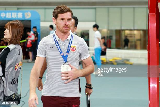 Head coach Andre VillasBoas of Shanghai SIPG looks on during the 12th round match of 2017 Chinese Football Association Super League between Shanghai...