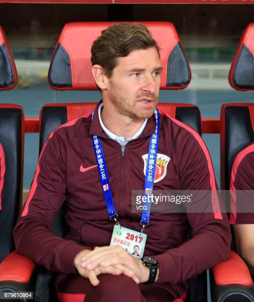 Head coach Andre VillasBoas of Shanghai SIPG looks on during the eighth round match of 2017 Chinese Football Association Super League between...