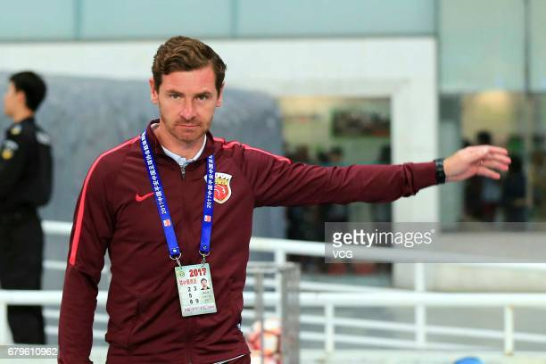 Head coach Andre VillasBoas of Shanghai SIPG reacts during the eighth round match of 2017 Chinese Football Association Super League between Shanghai...