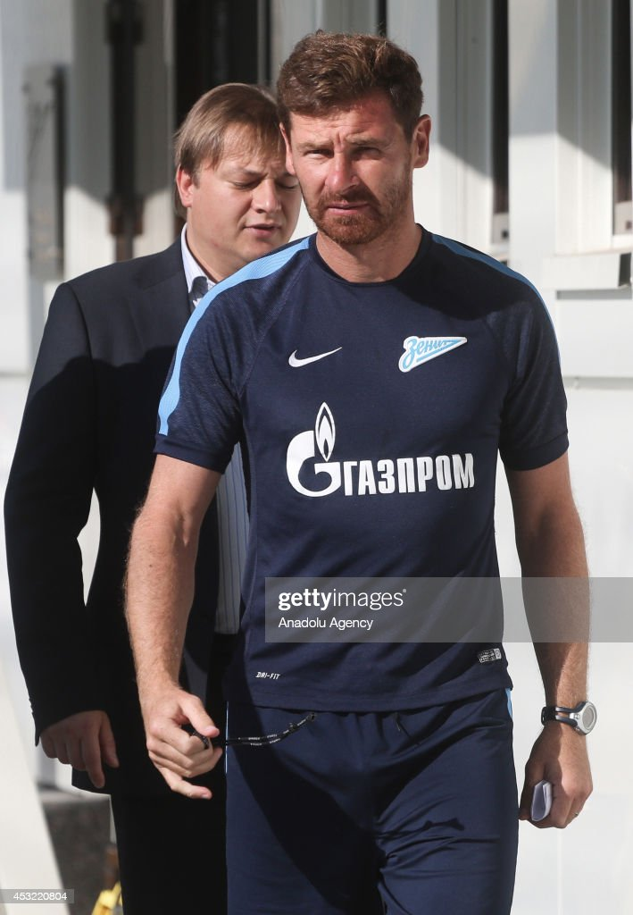 Head coach Andre VillasBoas of Zenit St Petersburg speaks to media after the team's training session on August 5 2014 in Saint Petersburg Russia UEFA...