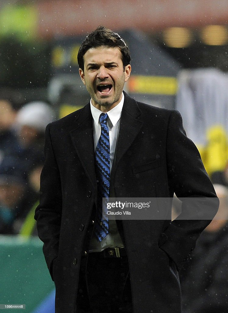 Head coach <a gi-track='captionPersonalityLinkClicked' href=/galleries/search?phrase=Andrea+Stramaccioni&family=editorial&specificpeople=9070912 ng-click='$event.stopPropagation()'>Andrea Stramaccioni</a> of FC Inter Milan reacts during the TIM cup match between FC Internazionale Milano and Bologna FC at Stadio Giuseppe Meazza on January 15, 2013 in Milan, Italy.