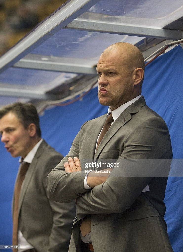 Head coach Andreas Johansson of HV71 looks on during the Champions Hockey League group stage game between HV71 Jonkoping and Red Bull Salzburg on August 24, 2014 in Jonkoping, Sweden.