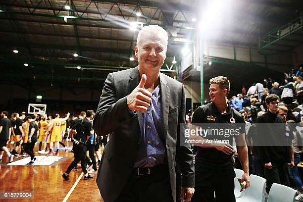 Head Coach Andrew Gaze of Sydney celebrates after winning the round three NBL match between the New Zealand Breakers and the Sydney Kings at the...