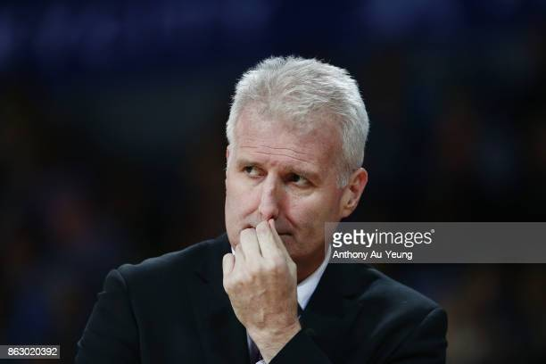 Head Coach Andrew Gaze of the Kings looks on during the round three NBL match between the New Zealand Breakers and the Sydney Kings at Spark Arena on...