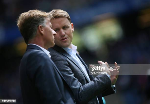 Head coach Andries Jonker and sports director Olaf Rebbe of Wolfsburg prior to the Bundesliga match between Hamburger SV and VfL Wolfsburg at...