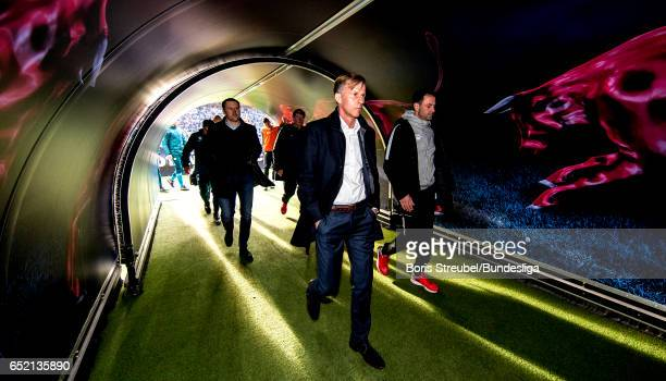 Head coach Andries Jonker of VfL Wolfsburg is pictured in the players tunnel during the Bundesliga match between RB Leipzig and VfL Wolfsburg at Red...