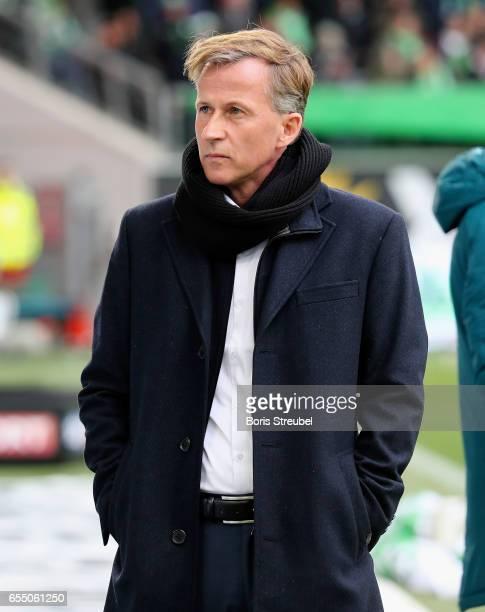 Head coach Andries Jonker of VfL Wolfsburg looks on prior to the Bundesliga match between VfL Wolfsburg and SV Darmstadt 98 at Volkswagen Arena on...