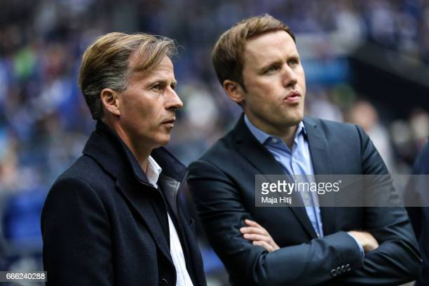 Head coach Andries Jonker of Wolfsburg and sport director Olaf Rebbe look on prior the Bundesliga match between FC Schalke 04 and VfL Wolfsburg at...