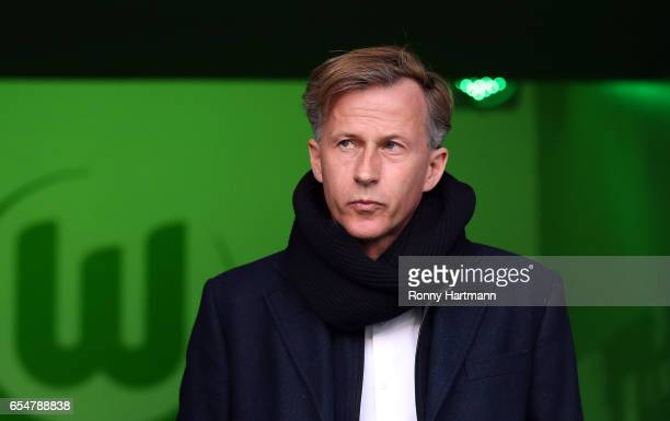 Head coach Andries Jonker of Wolfsburg enters the pitch prior to the Bundesliga match between VfL Wolfsburg and SV Darmstadt 98 at Volkswagen Arena...