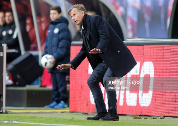 Head coach Andries Jonker of Wolfsburg gestures during the Bundesliga match between RB Leipzig and VfL Wolfsburg at Red Bull Arena on March 11 2017...