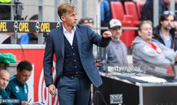 Head coach Andries Jonker of Wolfsburg is seen during the Bundesliga match between 1 FSV Mainz 05 and VfL Wolfsburg at Opel Arena on March 4 2017 in...