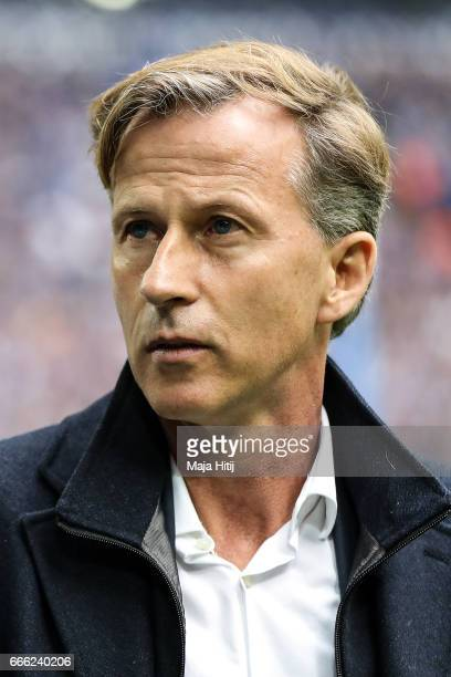 Head coach Andries Jonker of Wolfsburg looks on prior the Bundesliga match between FC Schalke 04 and VfL Wolfsburg at VeltinsArena on April 8 2017 in...