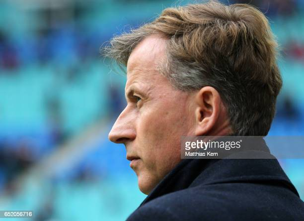Head coach Andries Jonker of Wolfsburg looks on prior to the Bundesliga match between RB Leipzig and VfL Wolfsburg at Red Bull Arena on March 11 2017...