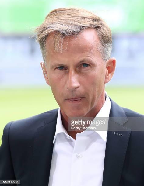 Head coach Andries Jonker of Wolfsburg looks on prior to the Bundesliga match between VfL Wolfsburg and Borussia Dortmund at Volkswagen Arena on...