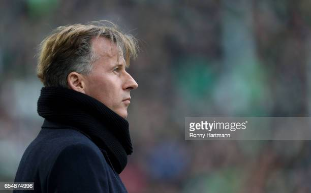 Head coach Andries Jonker of Wolfsburg prior to the Bundesliga match between VfL Wolfsburg and SV Darmstadt 98 at Volkswagen Arena on March 18 2017...