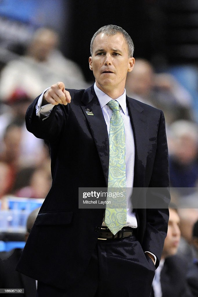Head coach Andy Enfield of Florida Gulf Coast Eagles looks on during the second round of the 2013 NCAA Men's Basketball Tournament game against the Georgetown Hoyas on March 22, 2013 at Wells Fargo Center in Philadelphia, Pennsylvania. The Eagles won 78-68.