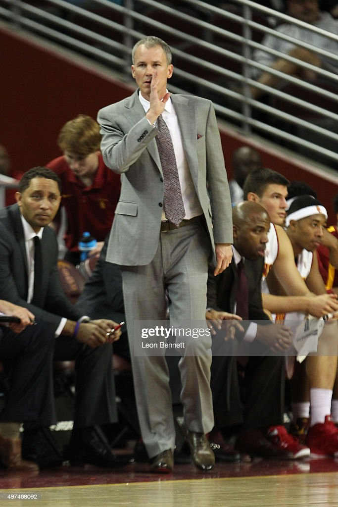 Head coach <a gi-track='captionPersonalityLinkClicked' href=/galleries/search?phrase=Andy+Enfield&family=editorial&specificpeople=5624033 ng-click='$event.stopPropagation()'>Andy Enfield</a> of the USC Trojans gives direction to his team against the Monmouth Hawks at Galen Center on November 16, 2015 in Los Angeles, California.
