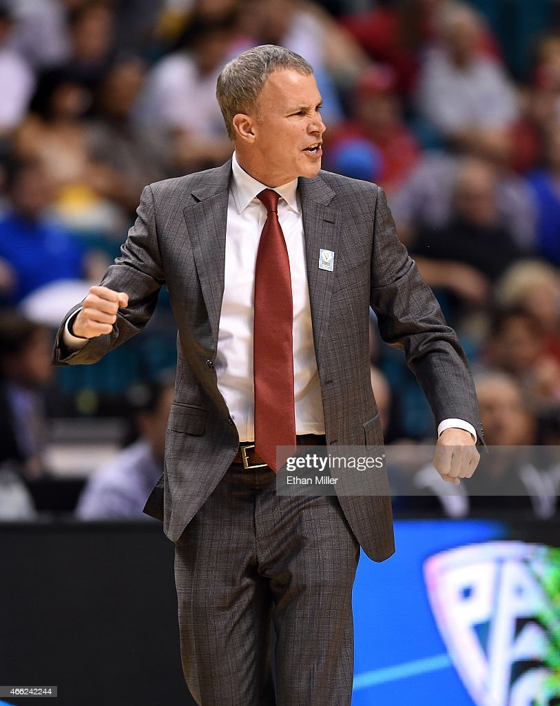 Head coach <a gi-track='captionPersonalityLinkClicked' href=/galleries/search?phrase=Andy+Enfield&family=editorial&specificpeople=5624033 ng-click='$event.stopPropagation()'>Andy Enfield</a> of the USC Trojans reacts during a quarterfinal game of the Pac-12 Basketball Tournament against the UCLA Bruins at the MGM Grand Garden Arena on March 12, 2015 in Las Vegas, Nevada. UCLA won 96-70.