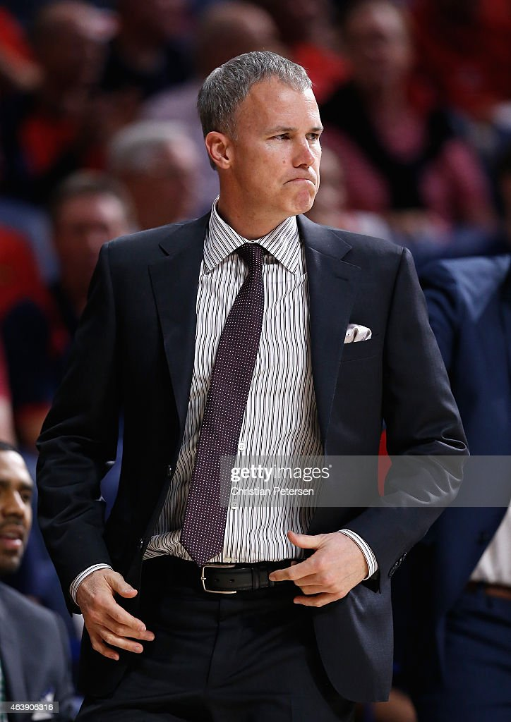Head coach <a gi-track='captionPersonalityLinkClicked' href=/galleries/search?phrase=Andy+Enfield&family=editorial&specificpeople=5624033 ng-click='$event.stopPropagation()'>Andy Enfield</a> of the USC Trojans reacts during the first half of the college basketball game against the Arizona Wildcats at McKale Center on February 19, 2015 in Tucson, Arizona.