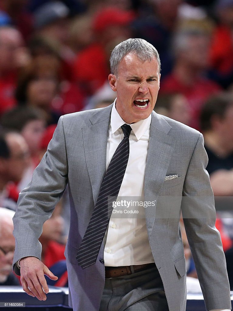 Head coach <a gi-track='captionPersonalityLinkClicked' href=/galleries/search?phrase=Andy+Enfield&family=editorial&specificpeople=5624033 ng-click='$event.stopPropagation()'>Andy Enfield</a> of the USC Trojans reacts to a foul call during the first half of the college basketball game against the Arizona Wildcats at McKale Center on February 14, 2016 in Tucson, Arizona. The Wildcats defeated the Trojans 86-78.