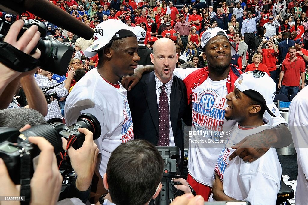 Head coach Andy Kennedy of the Ole Miss Rebels celebrates a 66-63 victory over the Florida Gators in the SEC Baskebtall Tournament Championship Game at the Bridgestone Arena on March 17, 2013 in Nashville, Tennessee.