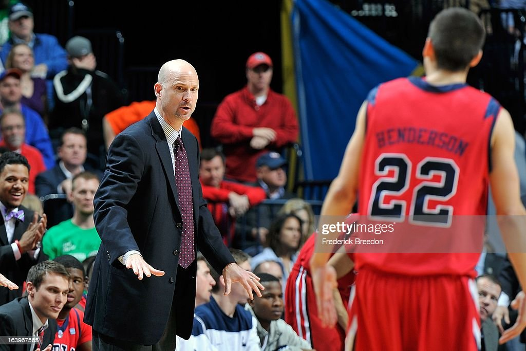 Head coach Andy Kennedy of the Ole Miss Rebels coaches against the Florida Gators during the SEC Baskebtall Tournament Championship Game at Bridgestone Arena on March 17, 2013 in Nashville, Tennessee.