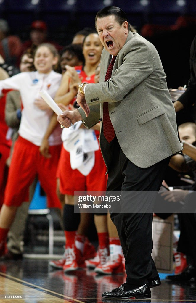 Head coach Andy Landers of the Georgia Lady Bulldogs directs his team against the Stanford Cardinal in the first half during the NCAA Division I Women's Basketball Regional Championship at Spokane Arena on March 30, 2013 in Spokane, Washington.