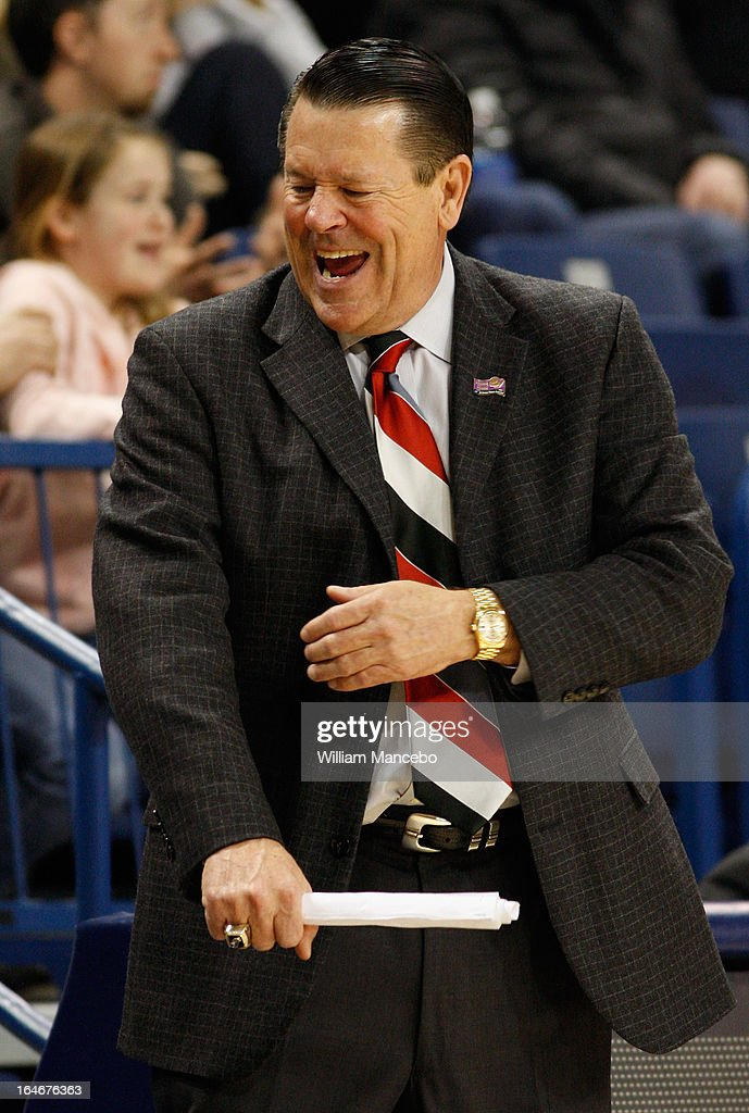 Head coach Andy Landers of the Georgia Lady Bulldogs reacts in the final moments of the game against the Iowa State Cyclones during the second round of the 2013 NCAA Women's Basketball Tournament at McCarthey Athletic Center on March 25, 2013 in Spokane, Washington. The Lady Bulldogs defeated the Cyclones 65-60.