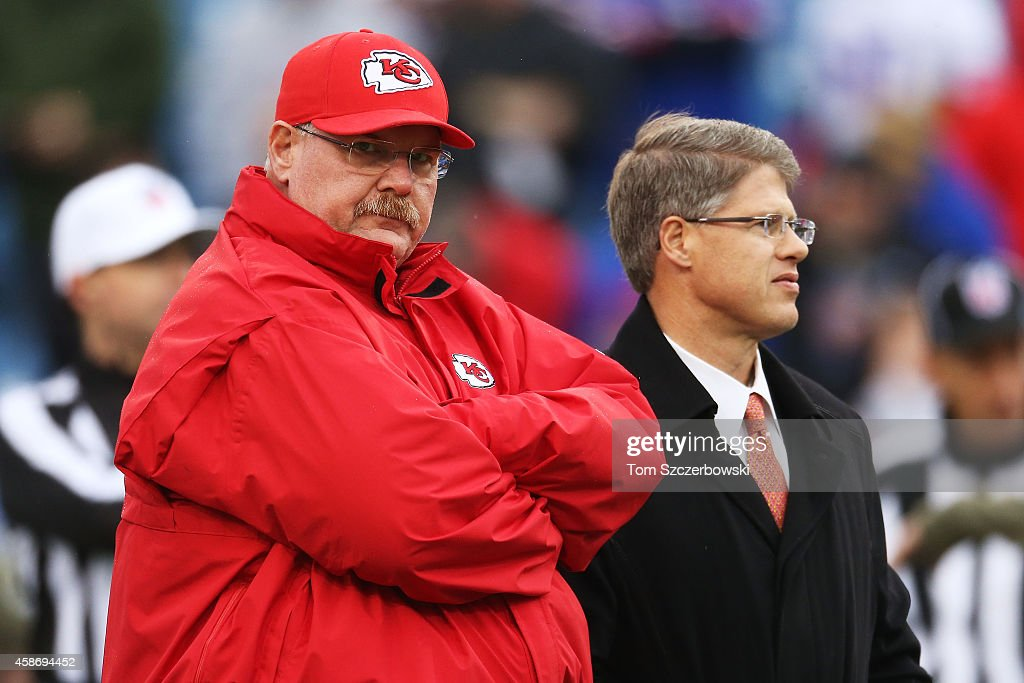 Head Coach Andy Reid of the Kansas City Chiefs and Kansas City Chiefs owner <a gi-track='captionPersonalityLinkClicked' href=/galleries/search?phrase=Clark+Hunt&family=editorial&specificpeople=2138852 ng-click='$event.stopPropagation()'>Clark Hunt</a> during the first half at Ralph Wilson Stadium on November 9, 2014 in Orchard Park, New York.